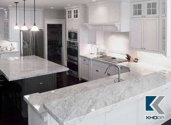 Mặt đá bàn bếp marble trắng 2