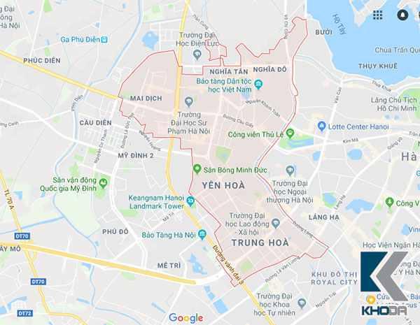 Bản đồ khu vực quận cầu giầy