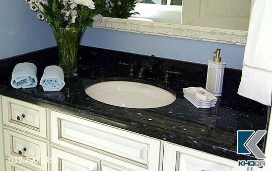 đá lavabo xà cừ xanh đen