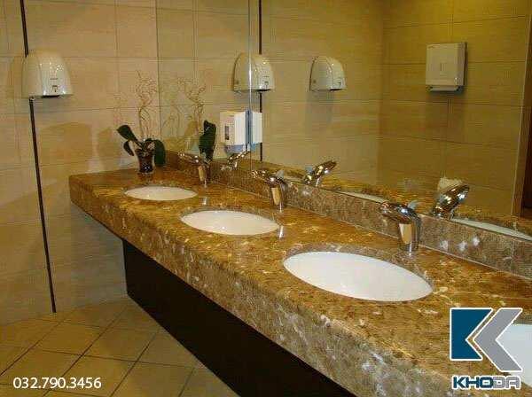 bàn đá lavabo marble vàng sò