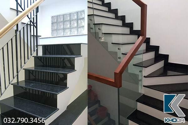 Cầu thang đá hoa cương đen trắng