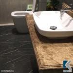 Mẫu bàn đá lavabo vàng thủy tinh