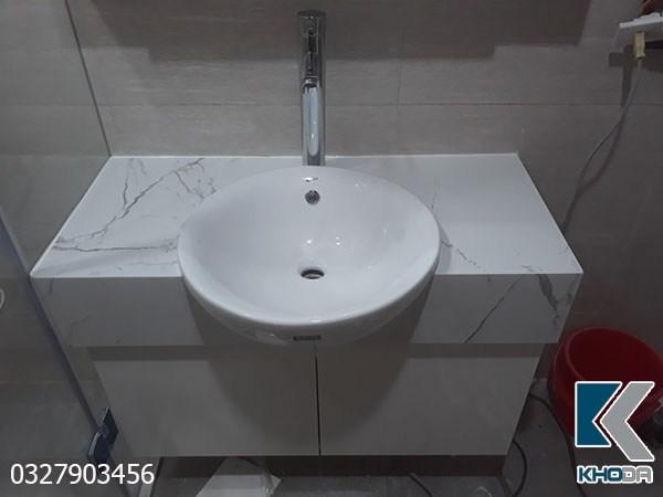Bàn đá lavabo trắng vân nâu