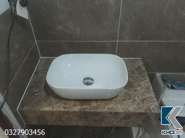 Bàn đá lavabo nâu nhạt